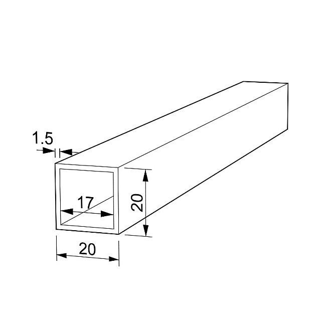 RECTANGLE ALUMINUM PROFILE 20x20 - BLACK, GRAINED